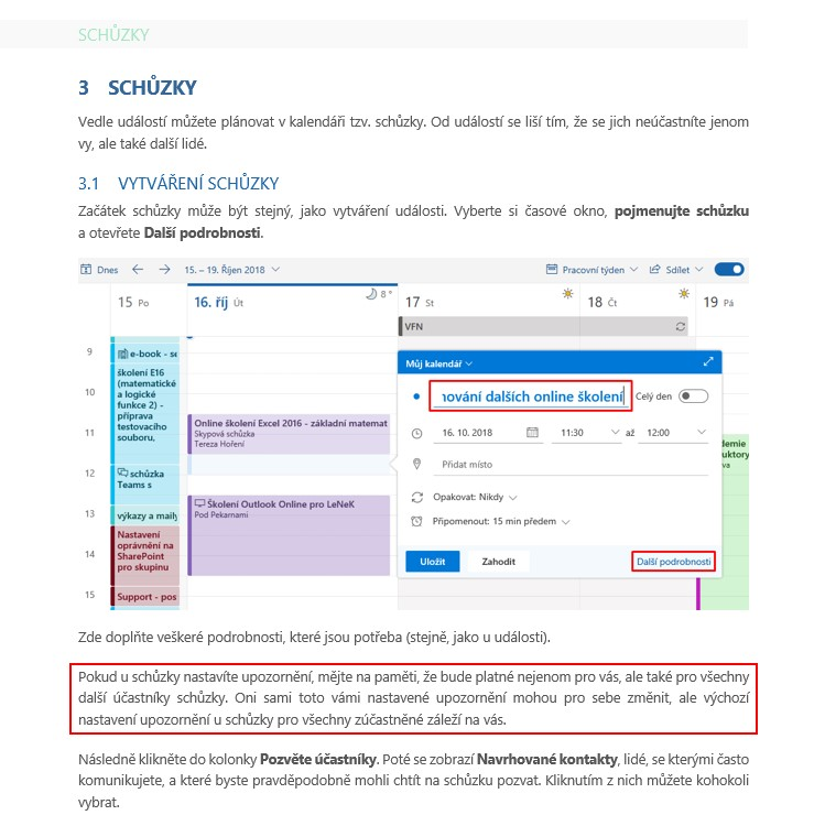 Schůzky v kalendáři Outlooku Online